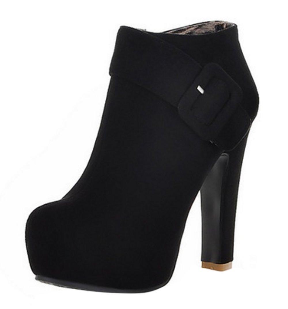 RAZAMAZA Damen Mode Side Zipper High Heel Kurzschaft Stiefel Black