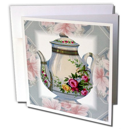 3dRose Victorian Flower Teapot On Blue Pink Floral Background - Greeting Cards, 6 x 6 inches, set of 6 (Greeting Flower Pot)