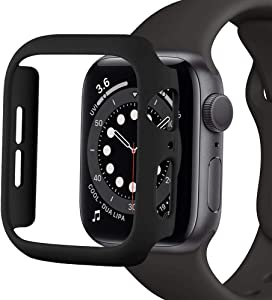 SUNDO for Apple Watch Case Series 6/5/4/SE 40mm 44mm,Series 3/2/1 38mm 42mm Matte PC Hard Cover Ultra-Thin Bumper Lightweight Protective Slim Guard Accessories for iWatch(Black,44mm)