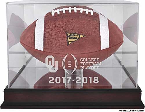 College Football Display Cases (Sports Memorabilia Oklahoma Sooners 2017 College Football Playoff Team Logo Mahogany Football Display Case - Fanatics Authentic Certified)