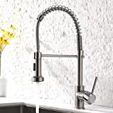 Pull Down Sprayer Kitchen Sink Faucet - Modern Stainless Steel Single Handle Spring Pull Down Faucet,Brushed Nickel