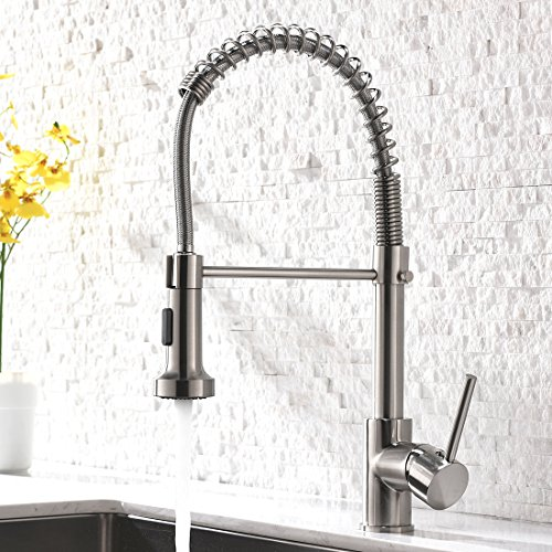 Pull Down Sprayer Kitchen Sink Faucet - Modern Stainless Steel Single Handle Spring Pull Down Faucet,Brushed Nickel (Sprayer Sink Faucet Kitchen)