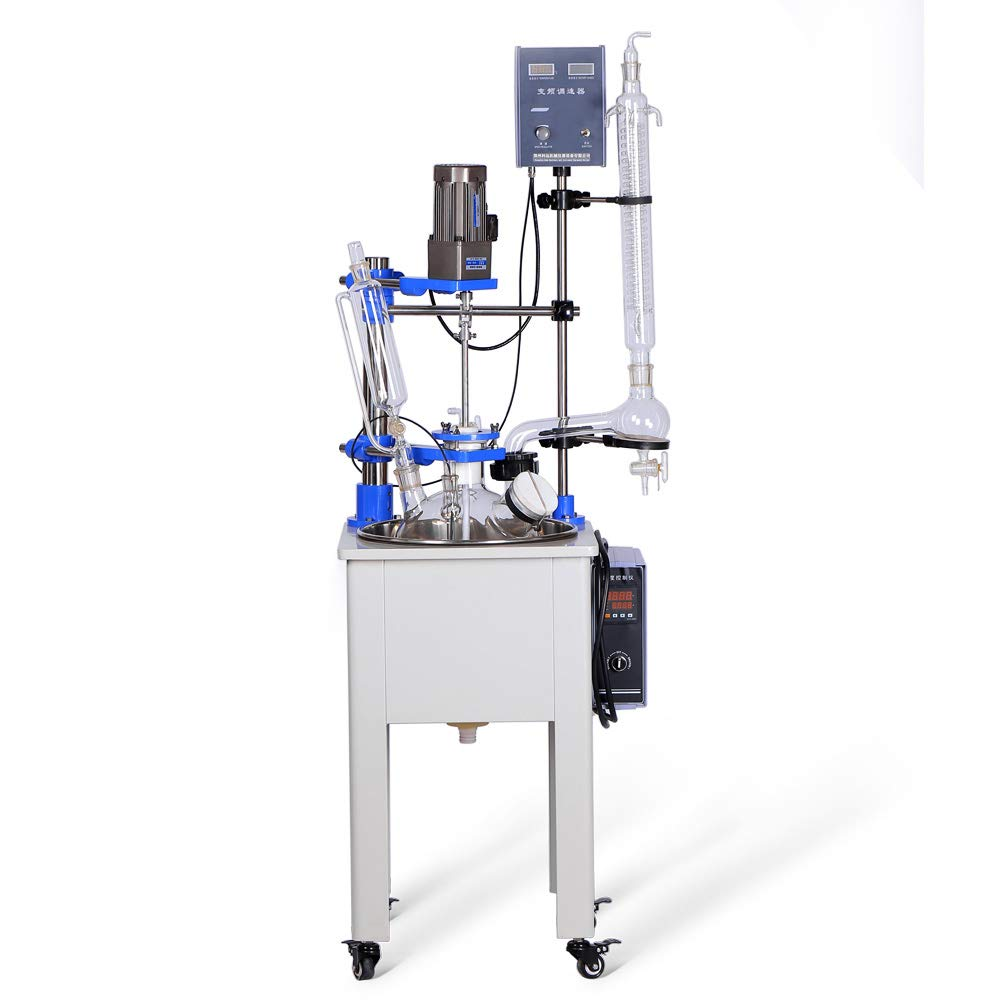 HNZXIB 10L Chemical Lab Single Layer Glass Reactor Control Evaporation and Reflux for Reaction Solution by HNZXIB