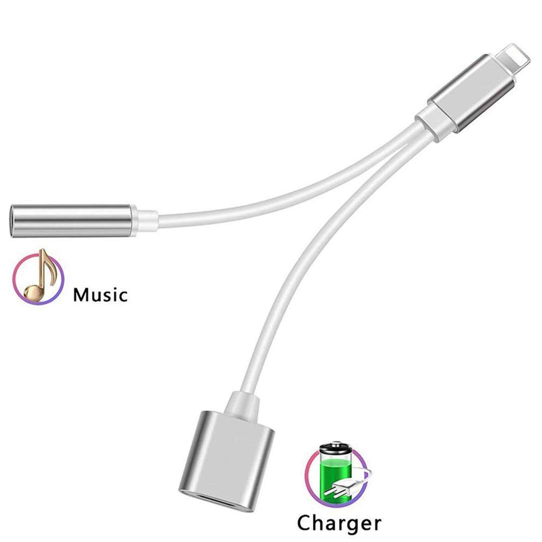 Headphone Adapter for iPhone Adapter 2 in 1 Charger Adapter 3.5mm Jack Convertor Headset Adaptor Earphone Cables Female Music Stereo Extender Earpiece Aux with for iPhone 7 8 X for iOS 10.3 or Later ZCMYFA