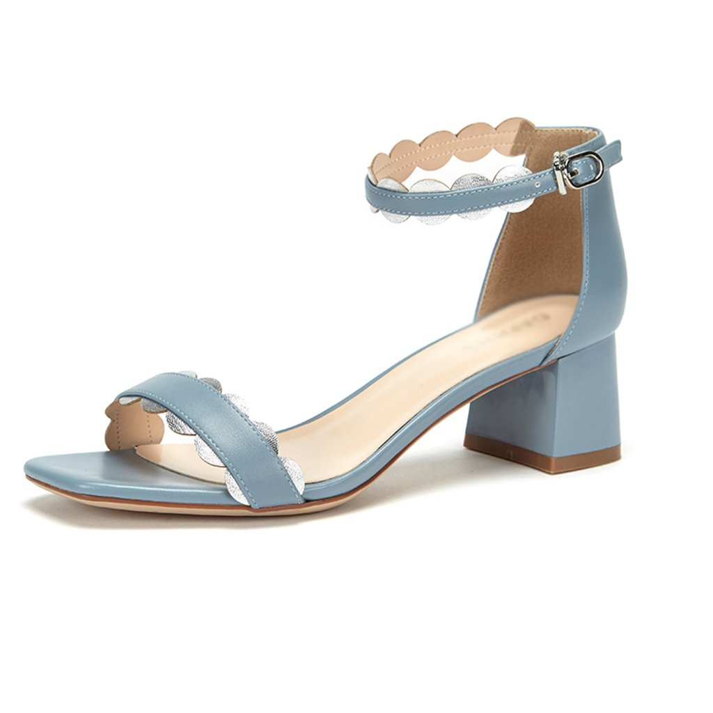 ZCJB Zapatos De Mujer Summer Word Hebilla Zapatos De Tacón Medio Grueso Con  Sandalias De Tacón 8176ac961170