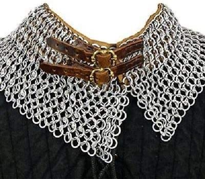 QUALITYMUSICSHOP Aluminium-Chainmail-Collar-10-MM-16-Gauge-Full-Flat-Ring-Dome-Riveted
