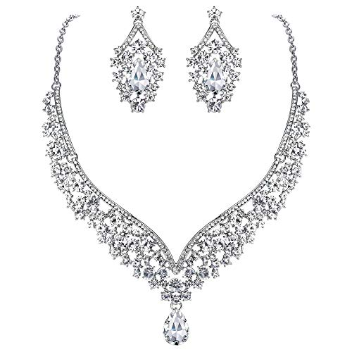 - EVER FAITH Austrian Crystal Elegant V-shaped Teardrop Necklace Earrings Set Clear Silver-Tone