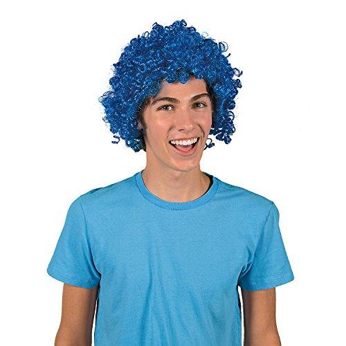 (Fun Express - Team Spirit Afro Wig - Blue - Apparel Accessories - Costume Accessories - Wigs & Beards - 1 Piece)
