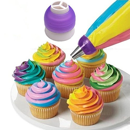 HrphIcing Piping Bag Nozzle Converter Tri-Farbe Creme Kuppler Kuchen, der Werkzeuge für Kuchen-Fondant-Plätzchen-3-Loch