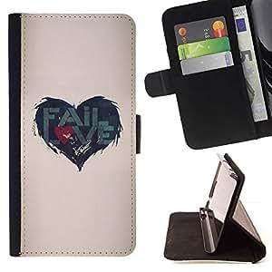 For Samsung Galaxy A5 ( A5000 ) 2014 Version Case , Cita de Amor Heartbreak Beige- la tarjeta de Crédito Slots PU Funda de cuero Monedero caso cubierta de piel