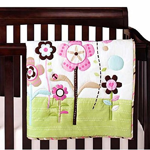 WINLIFE Crib Bedding Set for Girls & Boys Crib Quilts 33''x42'' Baby Quit (Flowers)