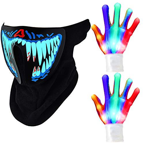 Sound Music Halloween Costumes (LED Skeleton Gloves Halloween Light Gloves and Light Up Music Mask Led Sound Activated Mask LED Party Mask for Festival)