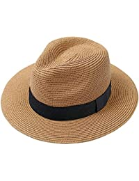 e621dac5 Men Wide Brim Straw Foldable Roll up Hat Fedora Summer Beach Sun Hat UPF50+