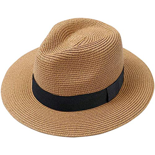 Lanzom Men Wide Brim Straw Foldable Roll up Hat Fedora Summer Beach Sun Hat UPF50+ (Style A-Khaki, One Size)