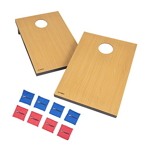 Triumph Tournament Bean Bag Toss Game with 2 Easy Transport Game Platforms with Scratch Resistant Surface, Convenient Carry Handle and 8 Toss Bags]()