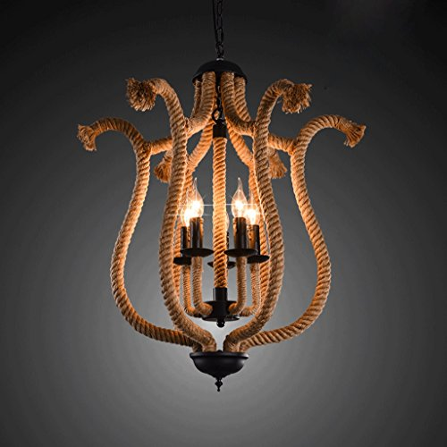 Country Old Iron Pendant - American rural countryside retro wrought iron chandelier rope creative old clothing store coffee bar living room restaurant chandelier ( Design : B )
