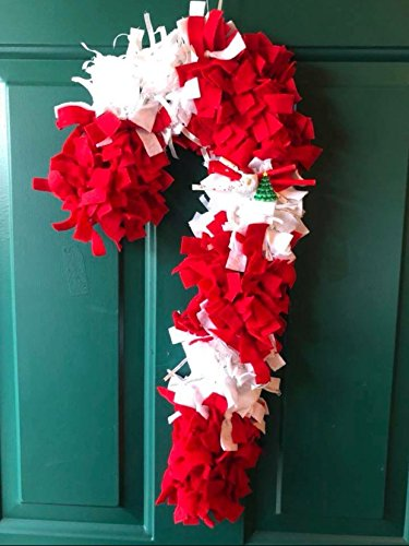 (Felt, Ribbon, & Reclaimed Fabric Candy Cane Christmas Wreath - Peppermint Wreath)