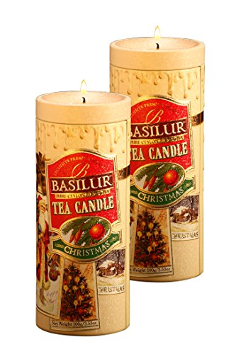 Basilur | Christmas Tea & Candle | 100% Pure Ceylon Black Loose Tea | Collectable Metal Caddy | Holiday gift of Tea | 100g ; 3.5 oz (Pack of 2) by Basilur
