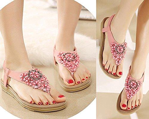 Plage Été Rose Sangle Tongs Sandales Femmes T Faux Minetom Floral Chaussures Flops Chaussons Plat Diamant Flip Bohemian Toe Peep RTx5wH