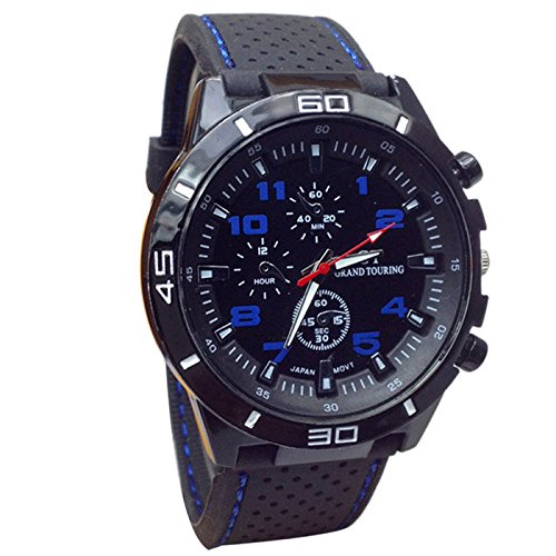 Digital Sports Watch Stopwatch Multifunction Military Outdoor Electronic Big Face Wrist Watches (Blue) (Dial Yellow Gold Case)