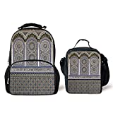 iPrint Schoolbags Lunch Bag,Arabian Decor,Nostalgic Moroccan Architecture Stone Carving Motifs Majestic Ottoman Empire Artsy,Multi,Two Piece Set