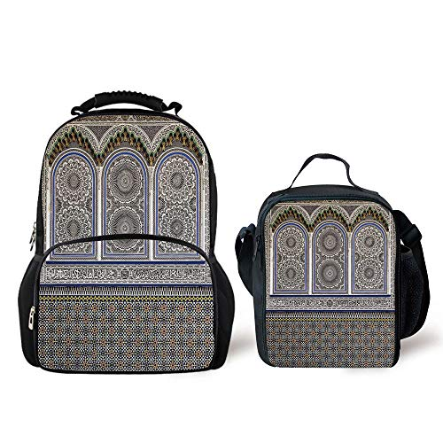 iPrint Schoolbags Lunch Bag,Arabian Decor,Nostalgic Moroccan Architecture Stone Carving Motifs Majestic Ottoman Empire Artsy,Multi,Two Piece Set by iPrint