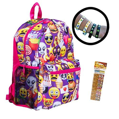 Emoji Book Backpack with 4-Pack Bracelets 8 Pack Pencils - Water Bottle (Curved Strap Comfort Sandals)