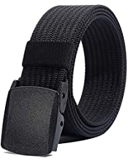 Men's Nylon Belt, Military Tactical Belts Breathable Webbing Canvas Belt with Plastic Buckle for Sports Outdoor Work