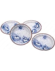 Japanese Porcelain Sushi Wasabi Soy Sauce Dipping Dishes, Blue Moon Rabbit, 3-5/8 Inches Dia. X 7/8 Inhces High, Set of 4 Saucers