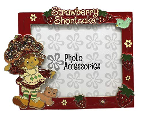 (Strawberry Shortcake Flowers and Strawberries Red Enameled Picture Frame (4x6in))