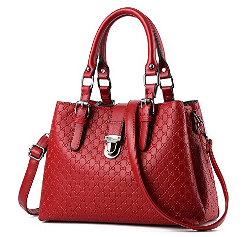 Suyi Women Fashion PU leather Top Handle Vintage Tote Satchel Handbag Shoulder Bag Wine Red