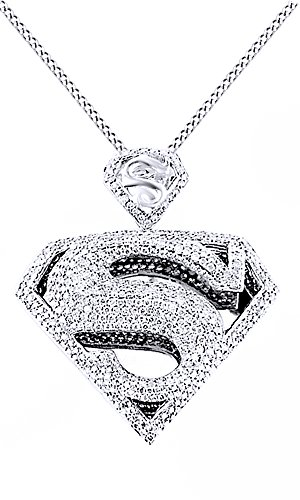 Round Cut Cubic Zirconia Superman Hip Hop Pendant in 14K White Gold Over Sterling Silver (4.5 Cttw) by AFFY