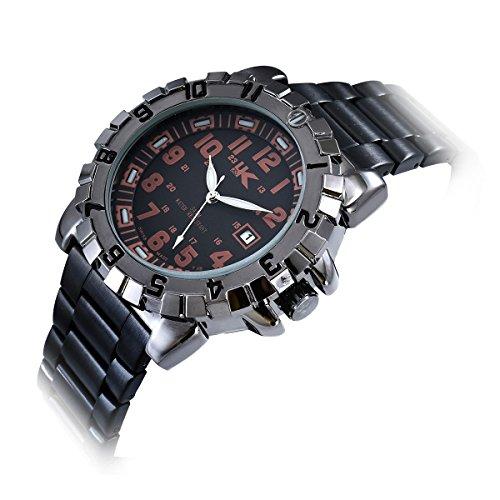 Yaki Neu Modeuhren Herren Armbanduhr Quarzuhr Metall Schwarz Arabische Ziffern mit Datum Wasserdicht