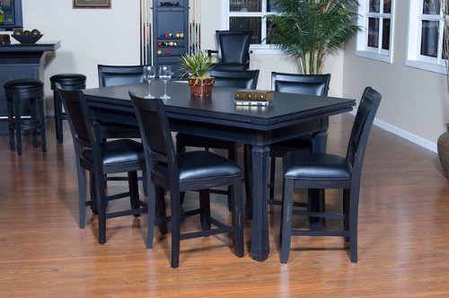 American Heritage Burlington 7-Piece Convertible Table 7 Game Chairs Set in Peppercorn 477402, Black