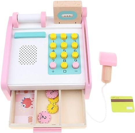 Backbayia - Juguete de madera para niños, caja registradora, juego ...