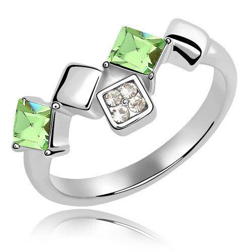 plateado elementos de Swarovski Crystal Diamond Accent cuadrados Eternidad Compromiso Anillos de Boda para Mujer Hombre