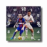 Lionel Messi&Cristiano Ronaldo 11'' Handmade Wall Clock - Get unique décor for home
