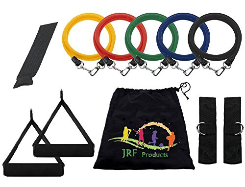 Cheap JRF Exercise Resistance Band Set with 1 Door Anchor, 2 Ankle Strap, 2 Cushioned Foam Handles and Resistance Bands Carrying Case