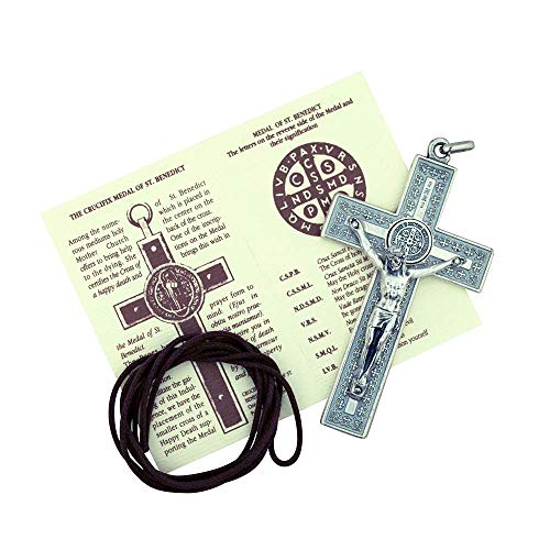 (Vatican Imports Unique St. Benedict Crucifix with Engraving and Colored Enamel (Silver-Tone w/White)
