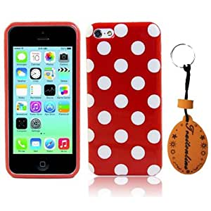 (TRAIT)Fashion Style Red &White Polka Dot Cases for iphone5c covers For iPhone 5c Protective skin