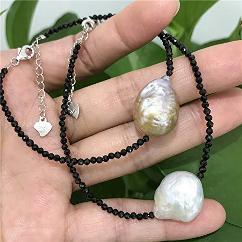 Natural Tiny Shining Onyx Stone 2-3 Mm | Real Big Baroque 14X18mm Pearl Bracelet | 925 Sterling Silver Clasp +3Cm ()