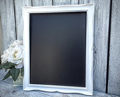 white french country 11 x 14 framed chalkboard ornate scrolled detailing distressed white picture