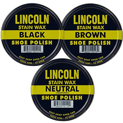 Lincoln Stain Wax Shoe Polish Black, Brown, Neutral Variety 3 Pack