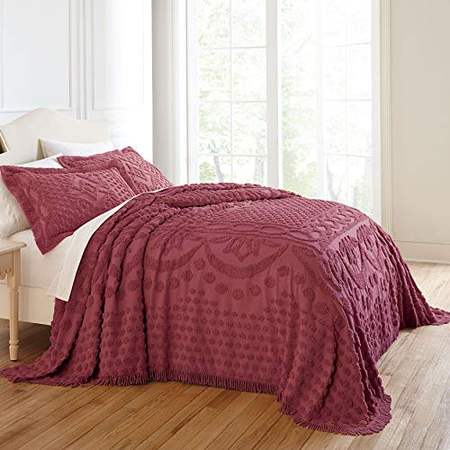 BrylaneHome Georgia Chenille Bedspread - Burgundy, Queen (Red Gold Bedspread And)