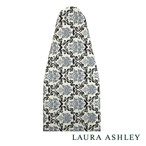 """Laura Ashley Home 08774001996 Black and Gray Damask Print Silicone Coated Ironing Board Cover and Pad – Resists Scorching and Staining – 54"""" x 15 by Laura Ashley Home"""