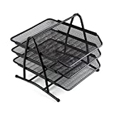 Comix Letter Tray with 3 Stackable Tiers, File holder, and Mesh Desktop Organizer - Black