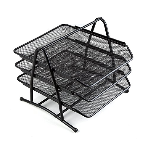 th 3 Stackable Tiers, File holder, and Mesh Desktop Organizer - Black ()