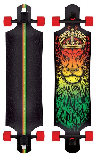 "Santa Cruz Lion God Rasta Drop Thru Cruzer Freeride Longboard Deck Complete 40"" Review"
