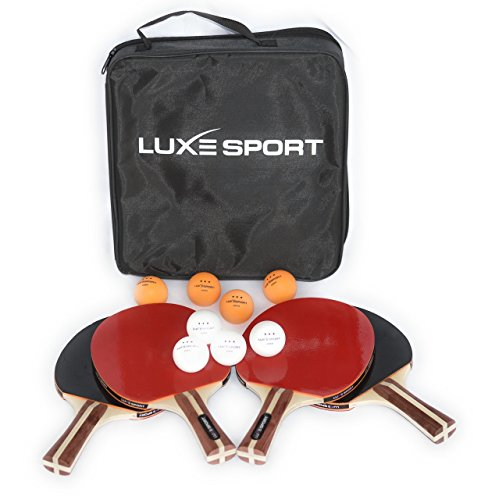 Action Ball Tennis Ball (Ping Pong Paddle Set - Includes : 4 Premium Pips In Table Tennis Rackets, 8 Three Star 40mm Ping Pong Balls and a Convenient Travel Case - Recreational or Professional Play - Two or Four Players)