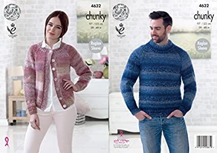 Easy Knit Ladies Cardigan /& Mens Sweater Chunky Knitting Pattern King Cole 4632